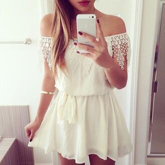 dress ishopcandy.com crochet dress crochet lace lace dress white dress ivory dress mini dress heyitsannabanana pretty dress off the shoulder dress