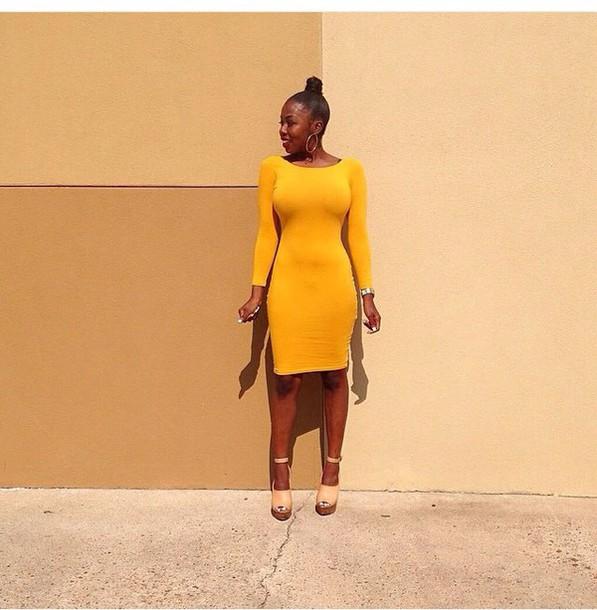 f88d79d7080a dress yellow form fitting dress long sleeves bodycon dress mustard yellow  dress mustard dress