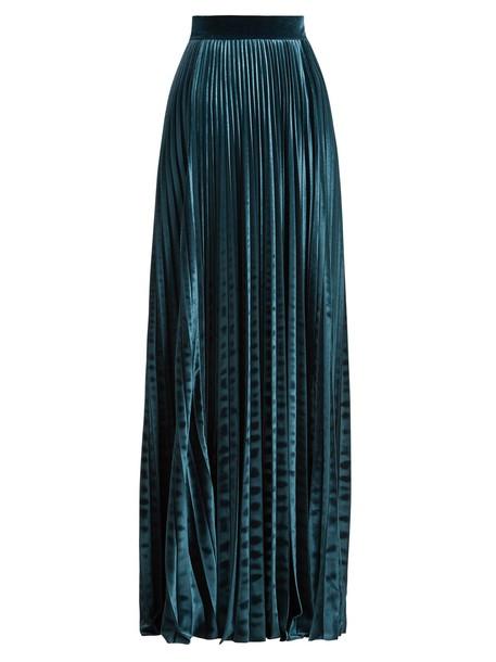 LUISA BECCARIA skirt velvet skirt pleated high velvet blue