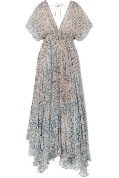 MES DEMOISELLES dress maxi dress maxi chiffon blue sky blue
