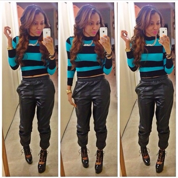 leather joggers leather pants black leather pants striped sweater lace up heels dope