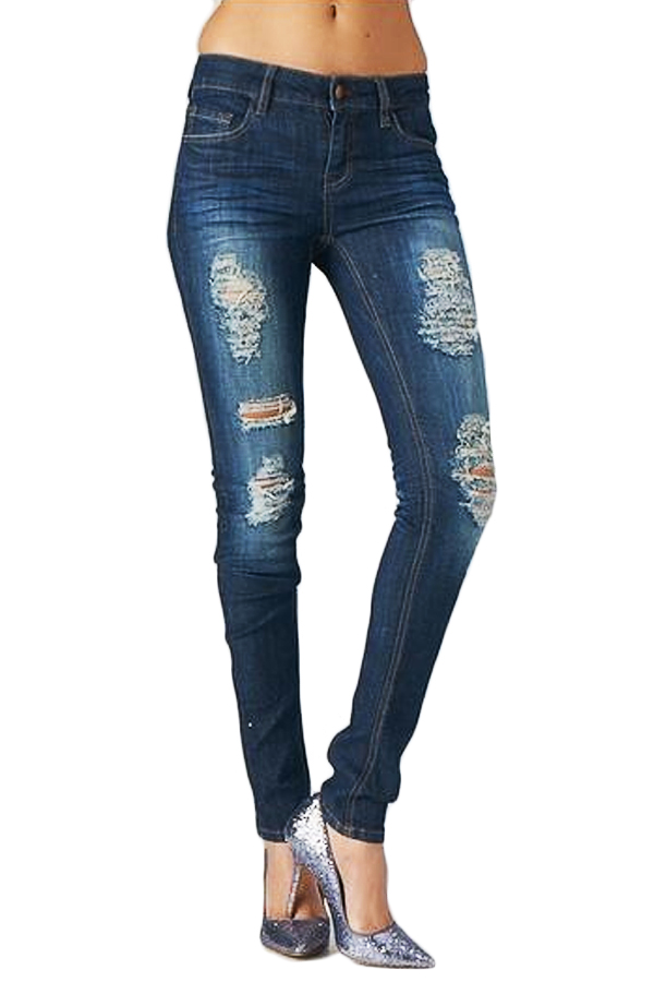 High rise dark distressed denim skinny jeans — simply chic