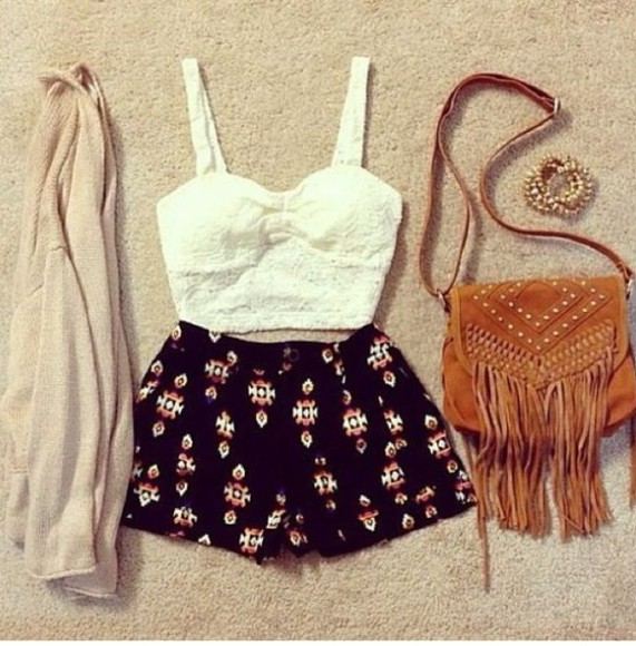 tank top floral tank top shorts bag lace crop top white top cardigan