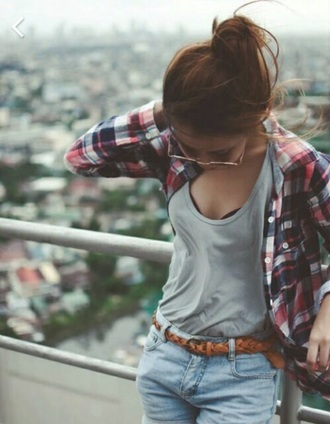 blouse shirt tank top shorts belt plaid shirt