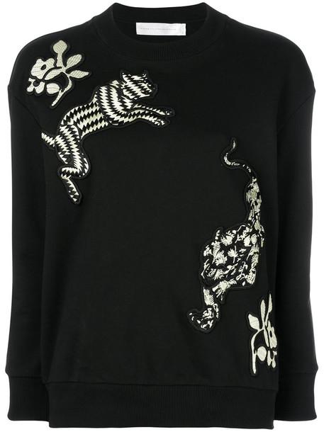 Victoria Victoria Beckham sweatshirt embroidered women cotton black sweater