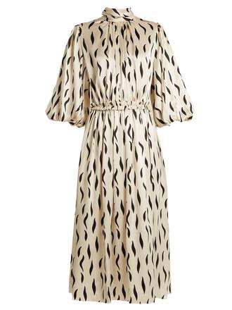 dress silk dress zebra high print silk cream
