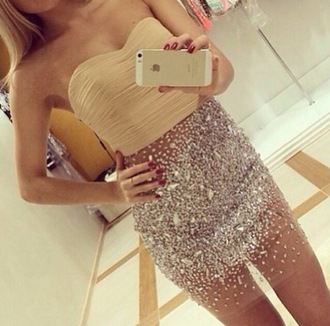 top see through dress bodycon dress style fashion bandeau iphone case diamonds blonde hair glitter dress