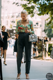 top,floral,floral top,pants,bag,shoes,heels