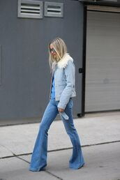 jacket,fur collar jacket,denim jacket,blue jacket,blue top,top,jeans,denim,blue jeans,flare jeans,All blue outfit,all blue,sunglasses,fall outfits