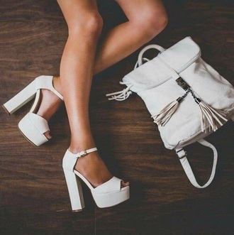 shoes heels white bag tumblr cute style