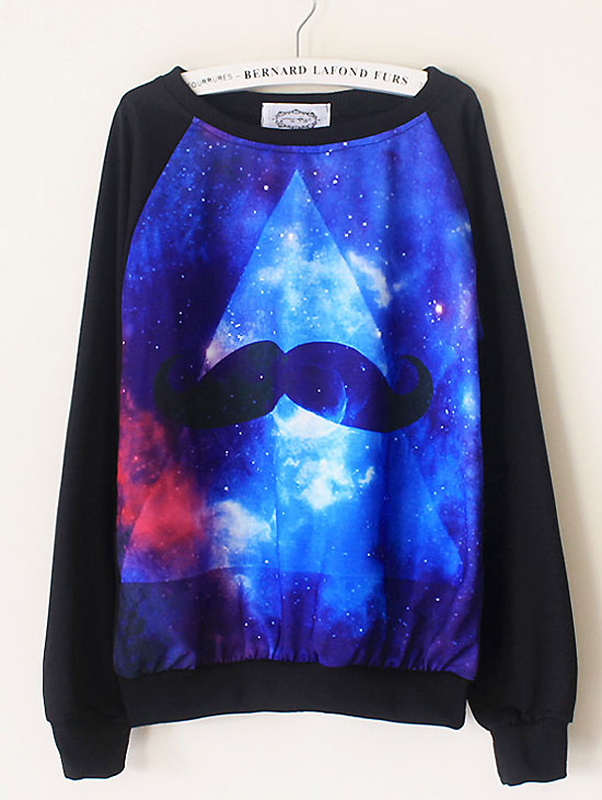 Starry Sky Gradient O-Neck Long Sleeve Sweatershirt  -  BuyTrends.com