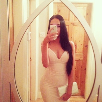 dress glamour cream triangle bodycon midi dress