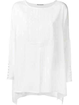 blouse women spandex lace white silk top