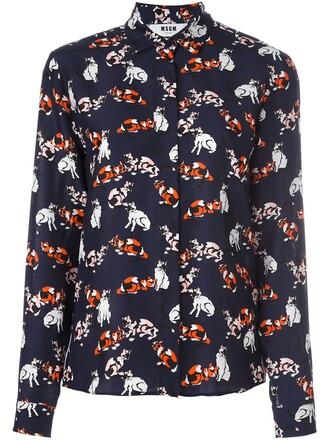 shirt women cotton print blue silk top