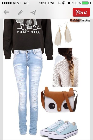 owl jeans sweater bag cute shoes