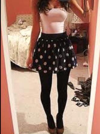 skirt pock a dot skirt white shirt black leggings
