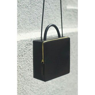 bag black purse minimalist black bag black bag with gold details