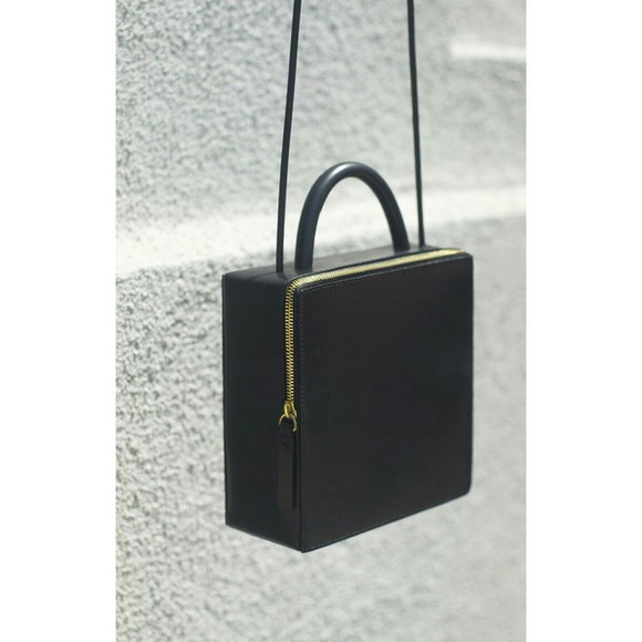 bag black bag black purse minimalist minimalistic black bag with gold details