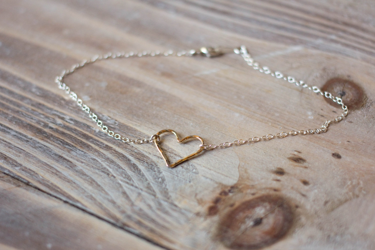 Gold filled heart on sterling silver chain