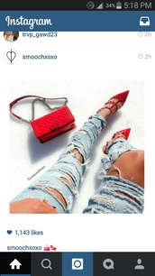 shoes,redheels,red studs,t-strap heels,high heels,jewels,jeans