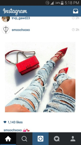 shoes redheels red studs t-strap heels high heels jewels jeans