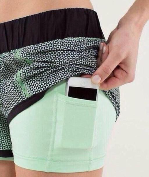 shorts workout spandex mint black grey pockets