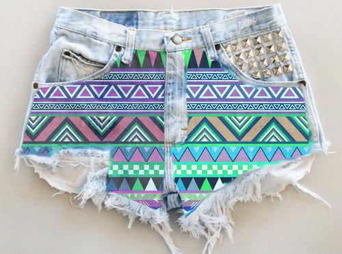 save of ANY COLOR Aztec Fabric Ripped Frayed Denim High-Waisted ...