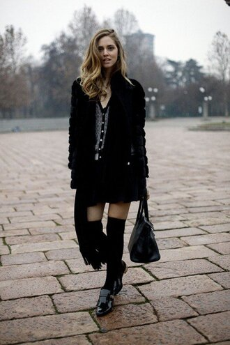 socks black coat button up shirt black skirt black knee socks blogger
