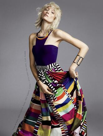 skirt ash walker model printed skirt maxi skirt striped skirt multicolor top blue top necklace blonde hair editorial cuff bracelet bracelets