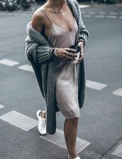 dress,slip dress,pink dress,shiny,oversized cardigan,knitted cardigan,grey cardigan,long cardigan,date outfit,white sneakers,cute outfits,outfit idea,silver jewelry,fall outfits,chunky knit,cardigan,rose gold,simplydresses,tumblr,oversized,midi dress,nude dress,knitted dress,sneakers,necklace,bracelets,ring,coffee,outfit,tumblr outfit,grey,nude