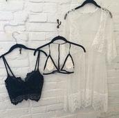 underwear,jewels,white,black,lingerie,blouse,bra,bralette,top,lace bralette,black bralette,crop tops,grunge,tumblr,boho kimono,lace kimono,lace,cute,lace bra,white top,style,kimono,boho,boho chic,bohemian,white kimono,seethrough underwear,floral kimono,fashion,see through lingerie