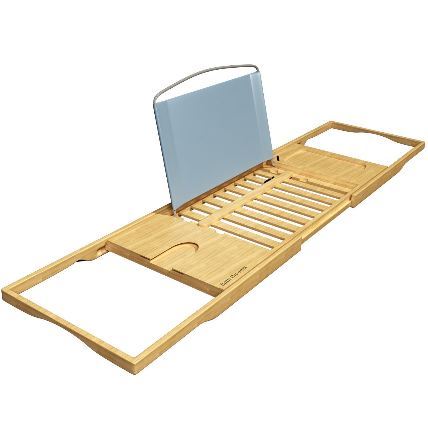 a5f8c56655e01 Amazon.com: Bath Dreams Luxury Bamboo Bathtub Caddy Tray with Extending  Sides: Home & Kitchen