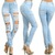 Plus Jeans Ripped Destroyed High Waist Light Blue Denim Pants Skinny Stretch 3X