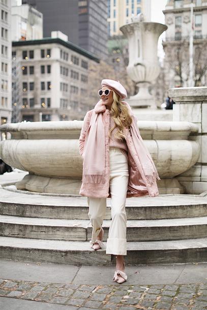 pants tumblr french girl style beret hat coat pink coat scarf shoes pink shoes nude pants all pink everything sweater monochrome outfit