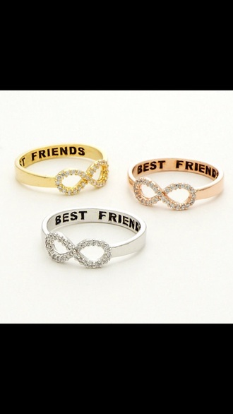 jewels jewelry infinity best friends infinity ring bff ring gold ring rings and tings