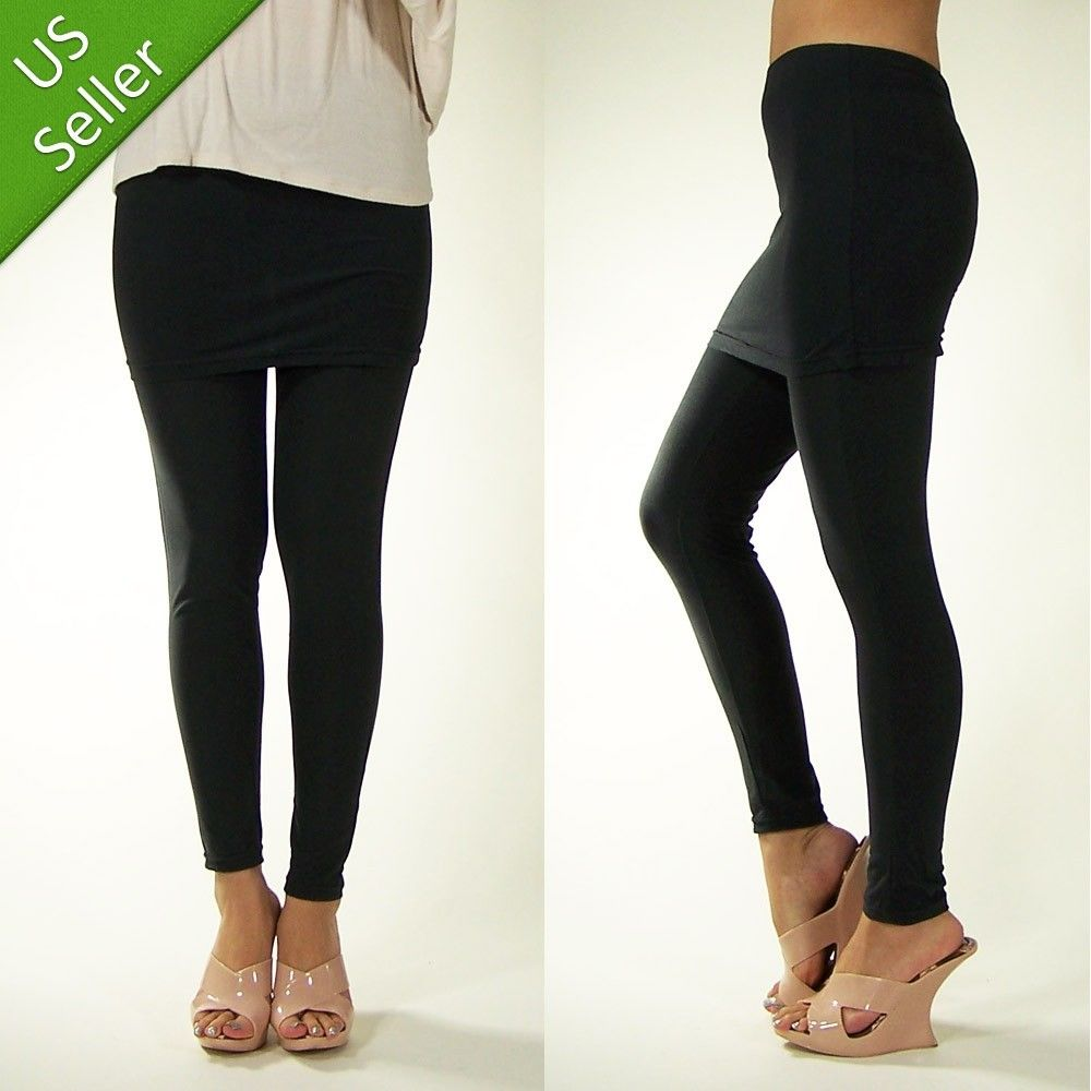 New Sexy Cute Comfy Cotton Feel Gray Leggings With Mini Skirt Tights Pants Wrap