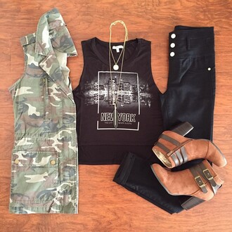 shirt jacket vest army green jacket black t-shirt new york shirt crop tops
