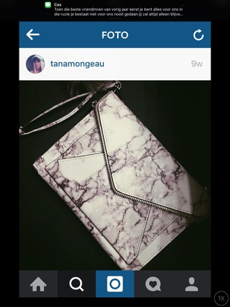 bag marble geometric fashion rebecca minkoff white zip grey envelope clutch clutch