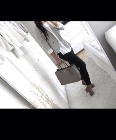 white simple blouse jacket pants bag shoes