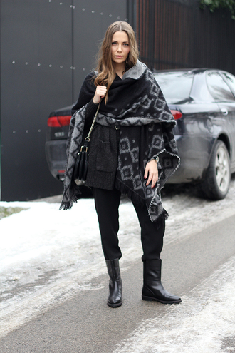 fashion and style blogger pants blanket scarf winter outfits black boots