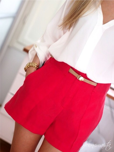 red shorts flowy flowy shorts blouse