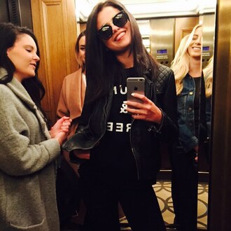 jacket top sweatshirt selena gomez instagram biker jacket sunglasses