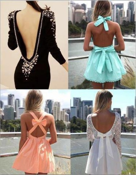 dress low cut back mint pink