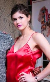 dress,red,silk,satin,alexandradaddario,slip dress