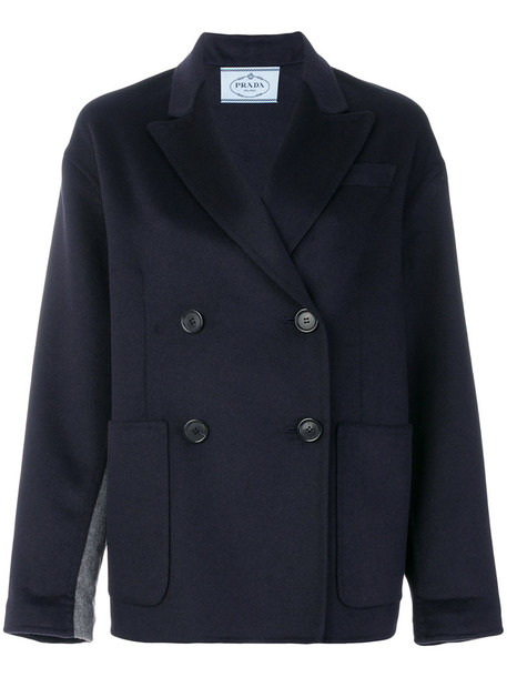 Prada jacket double breasted women blue wool