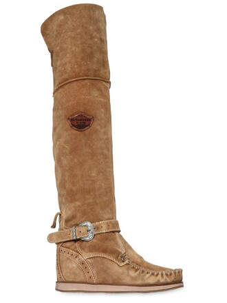 wedge boots over the knee boots suede beige shoes