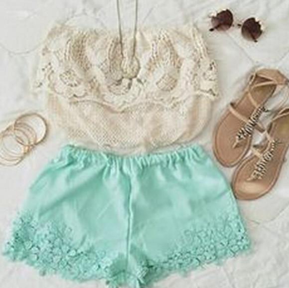 mint short lace shorts women short