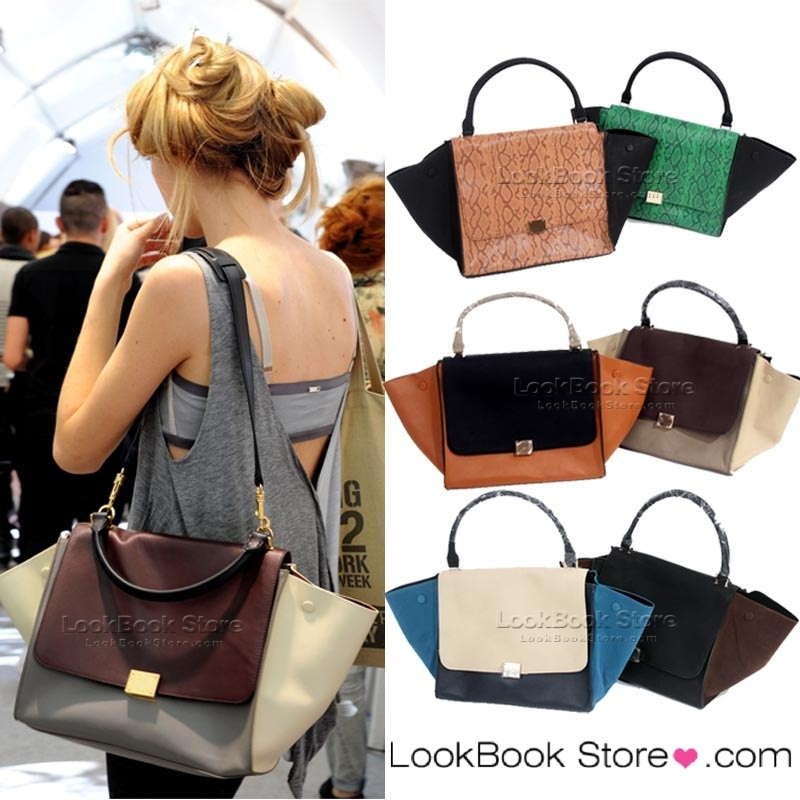 Classic womens colour block shopper bat tote purse satchel straped shoulder bag
