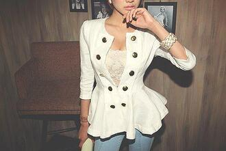 clothes jacket blazer white blazer white button up