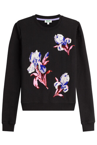 pullover embroidered embellished cotton black sweater